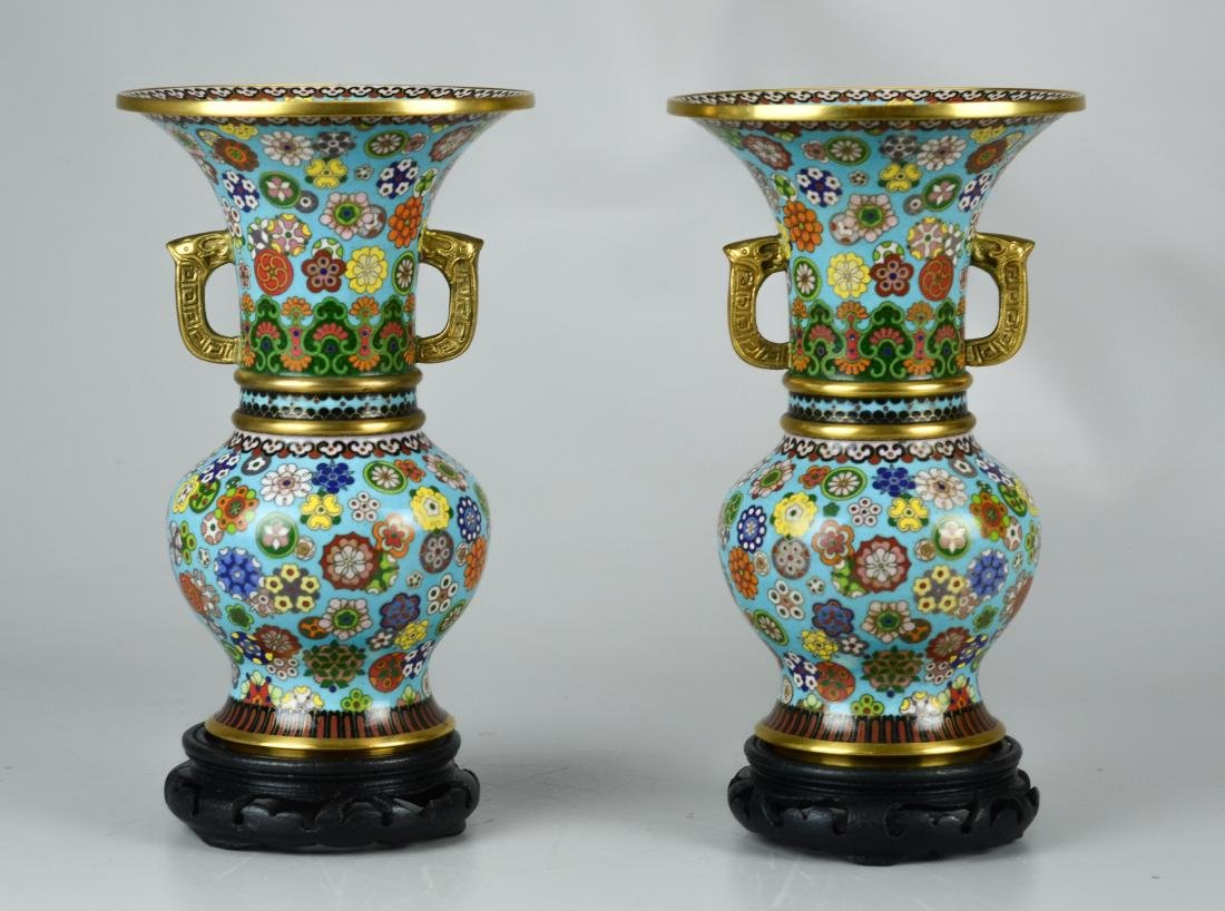 Pr Chinese cloisonne vases with teak stands