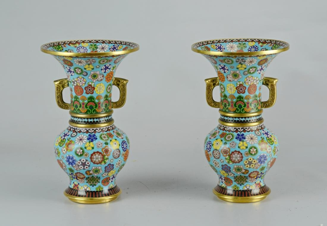 Pr Chinese cloisonne vases with teak stands - 2