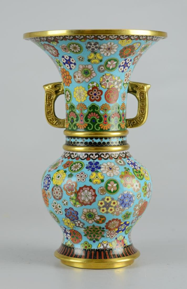 Pr Chinese cloisonne vases with teak stands - 4