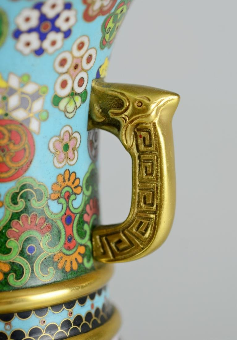 Pr Chinese cloisonne vases with teak stands - 5