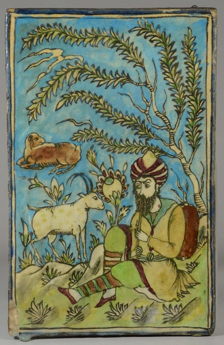 Persian tile of musican with goat and lamb