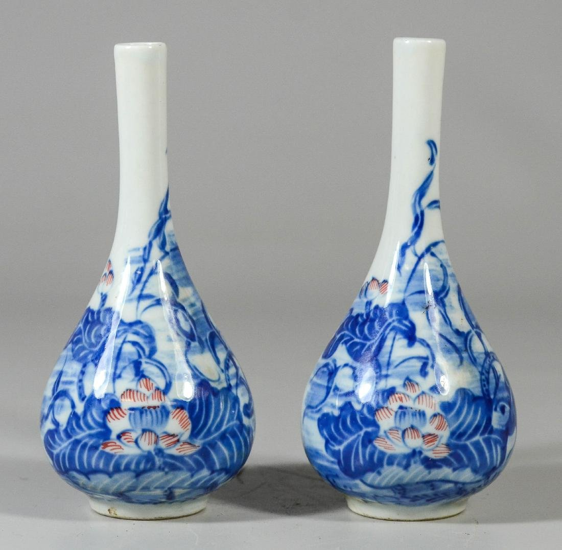 Pr Asian blue & white porcelain vases