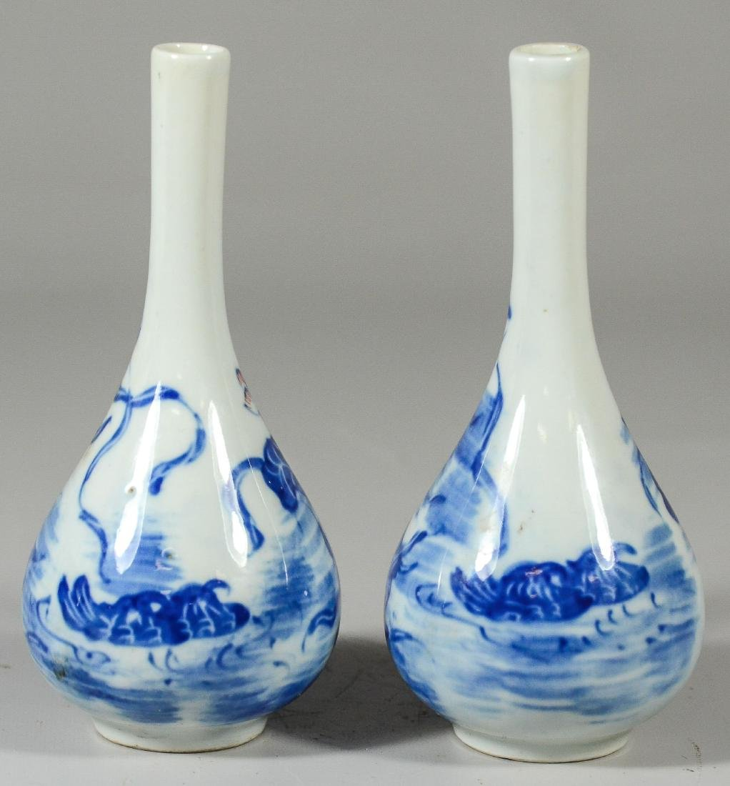 Pr Asian blue & white porcelain vases - 3