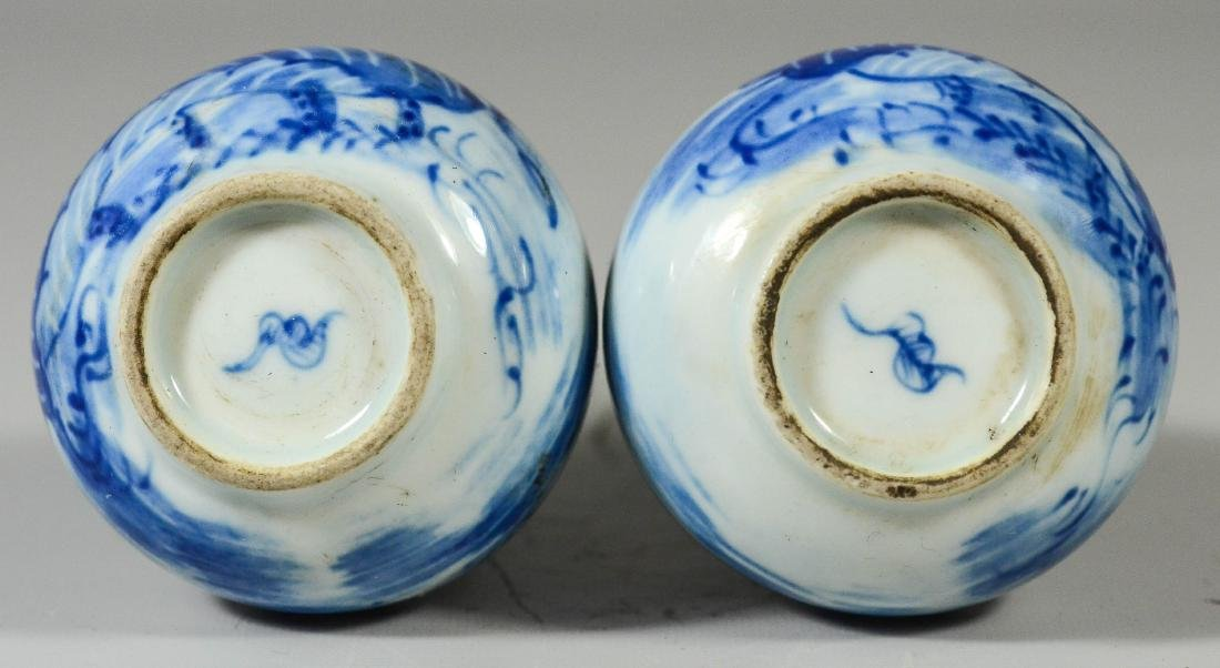 Pr Asian blue & white porcelain vases - 4
