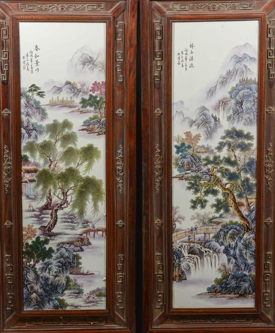 Pr Chinese porcelain tiles in carved teakwood frames