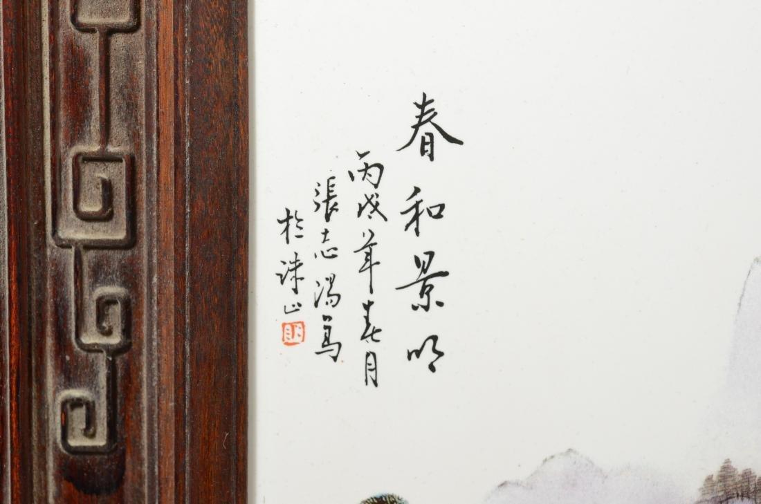 Pr Chinese porcelain tiles in carved teakwood frames - 2