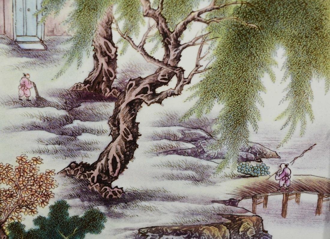 Pr Chinese porcelain tiles in carved teakwood frames - 5