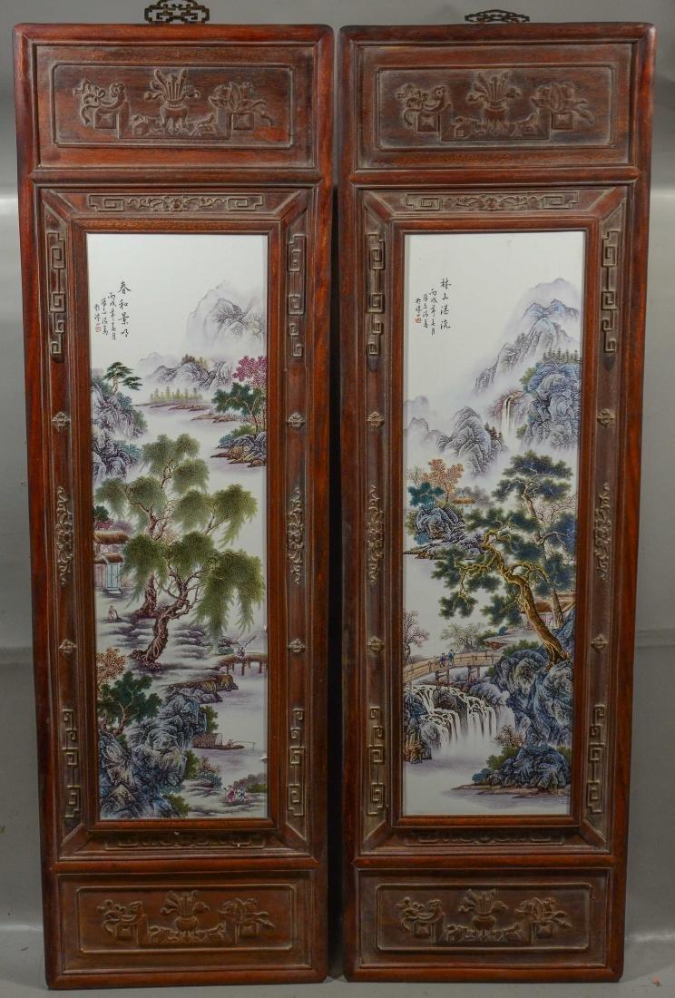 Pr Chinese porcelain tiles in carved teakwood frames - 6