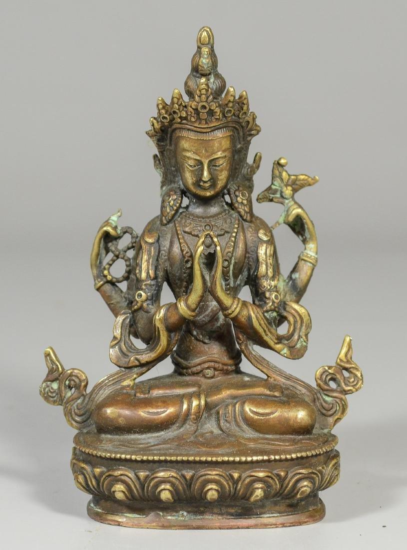 Tibetan style brass figure of a Buddha