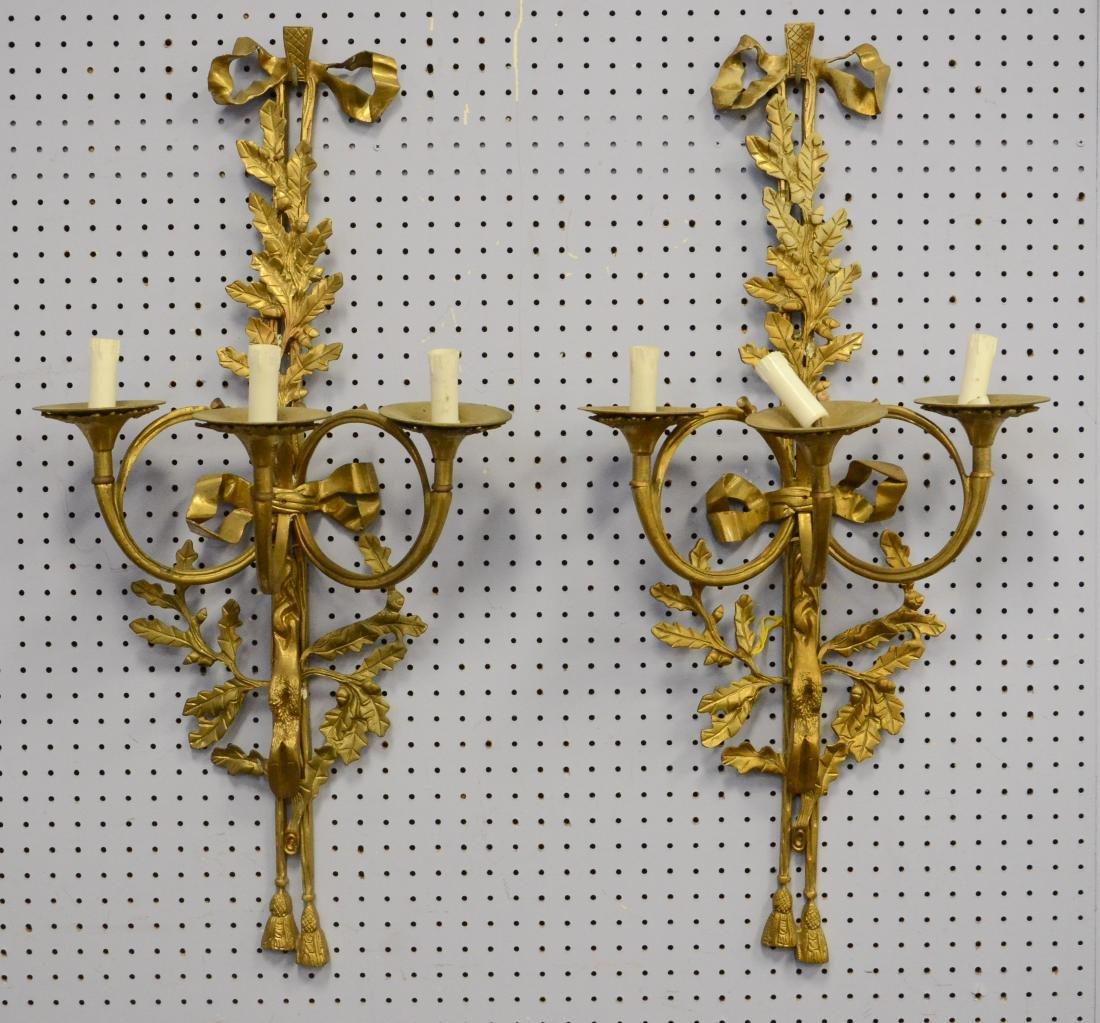 Pr brass 3-arm wall sconces