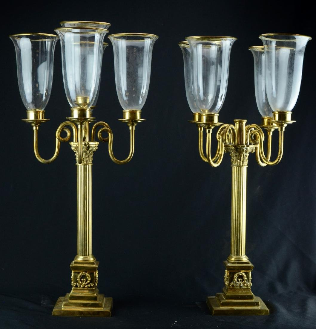 Pr brass 5-arm candelabra with brass trimmed glass