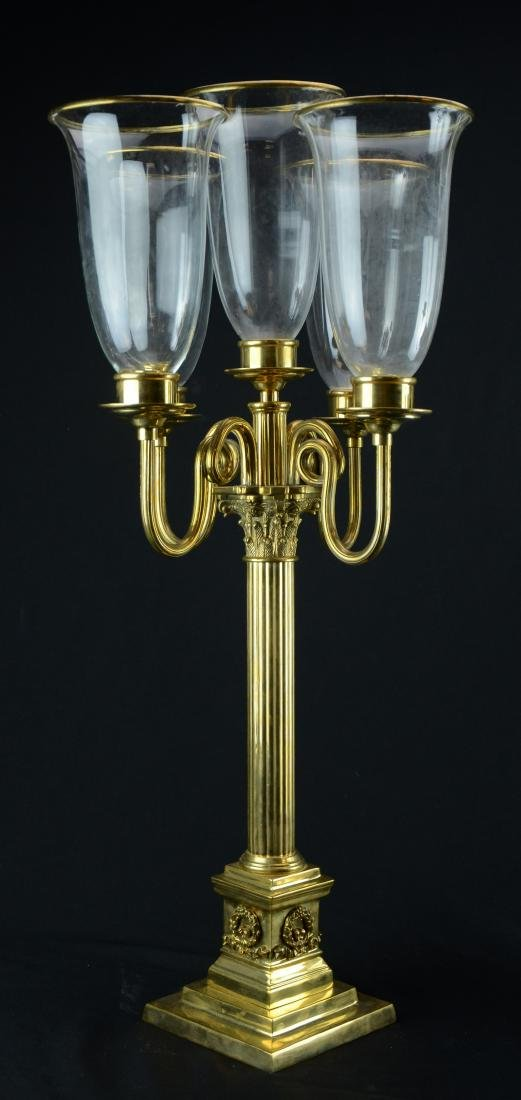Pr brass 5-arm candelabra with brass trimmed glass - 2