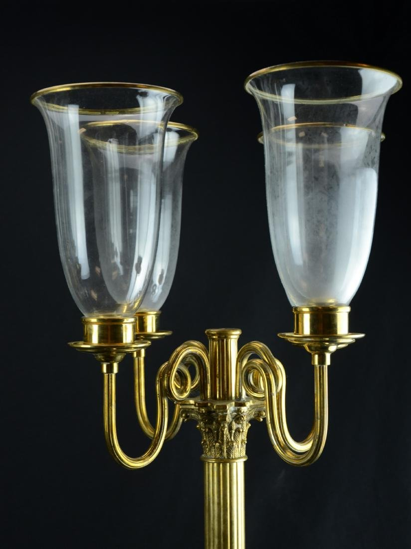 Pr brass 5-arm candelabra with brass trimmed glass - 3