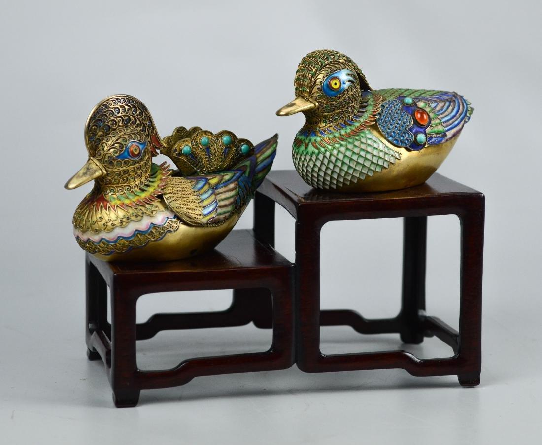 Chinese silver gilt and enamel Mandarin ducks