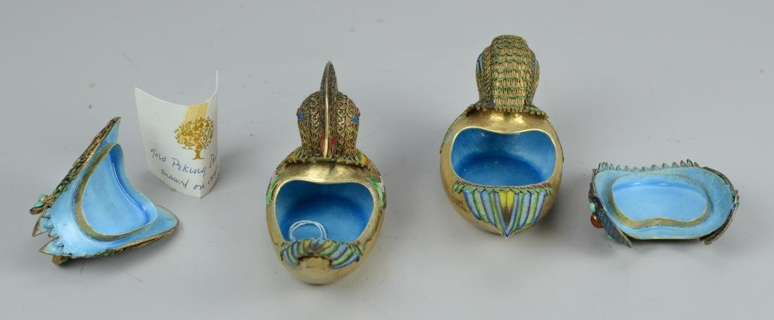 Chinese silver gilt and enamel Mandarin ducks - 3