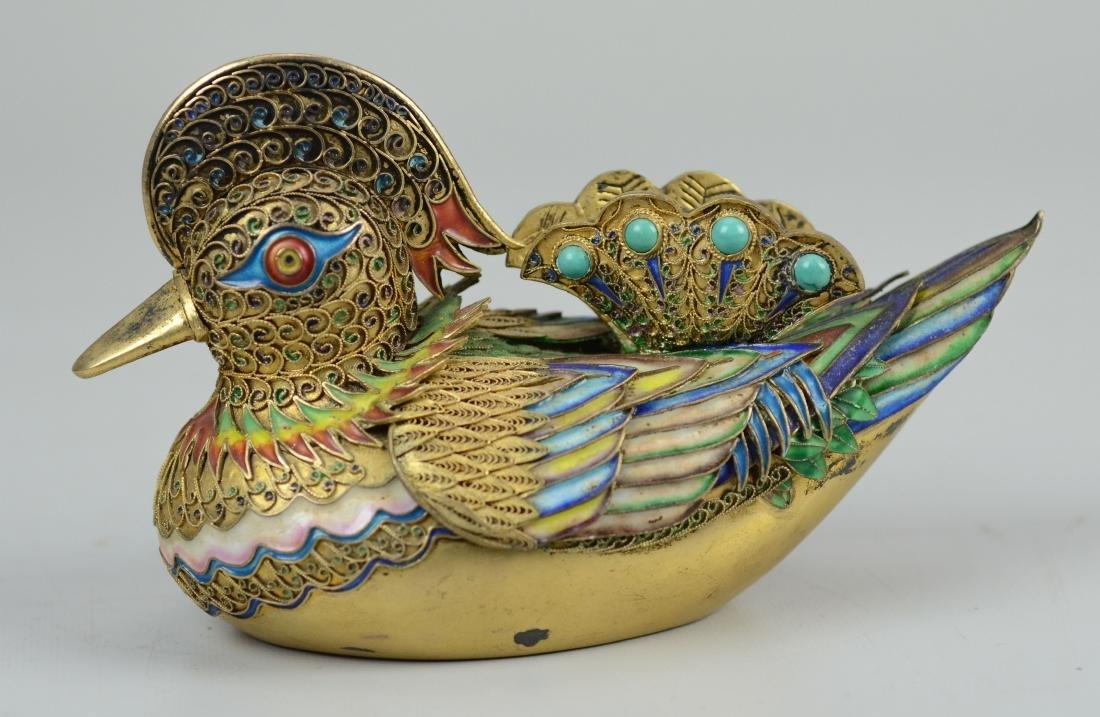 Chinese silver gilt and enamel Mandarin ducks - 4