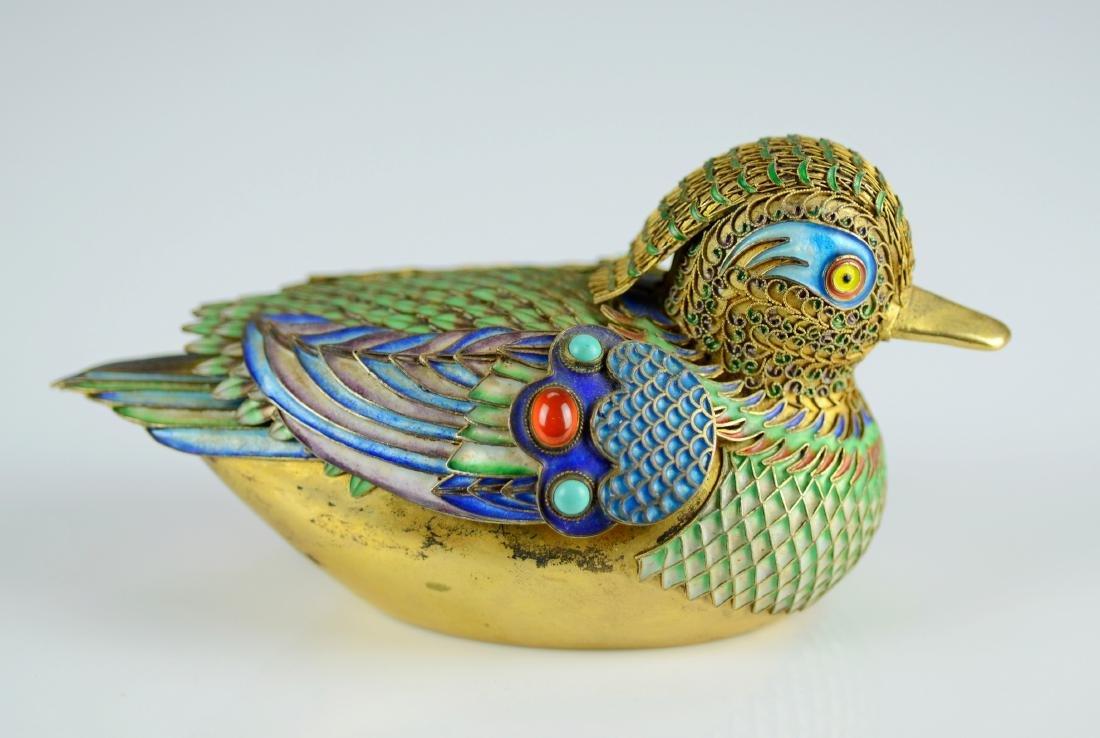 Chinese silver gilt and enamel Mandarin ducks - 5