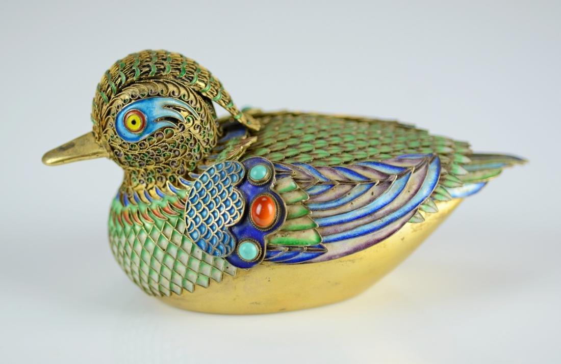 Chinese silver gilt and enamel Mandarin ducks - 6