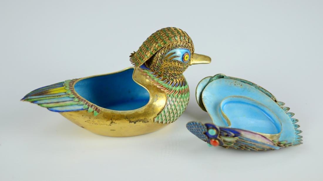 Chinese silver gilt and enamel Mandarin ducks - 9