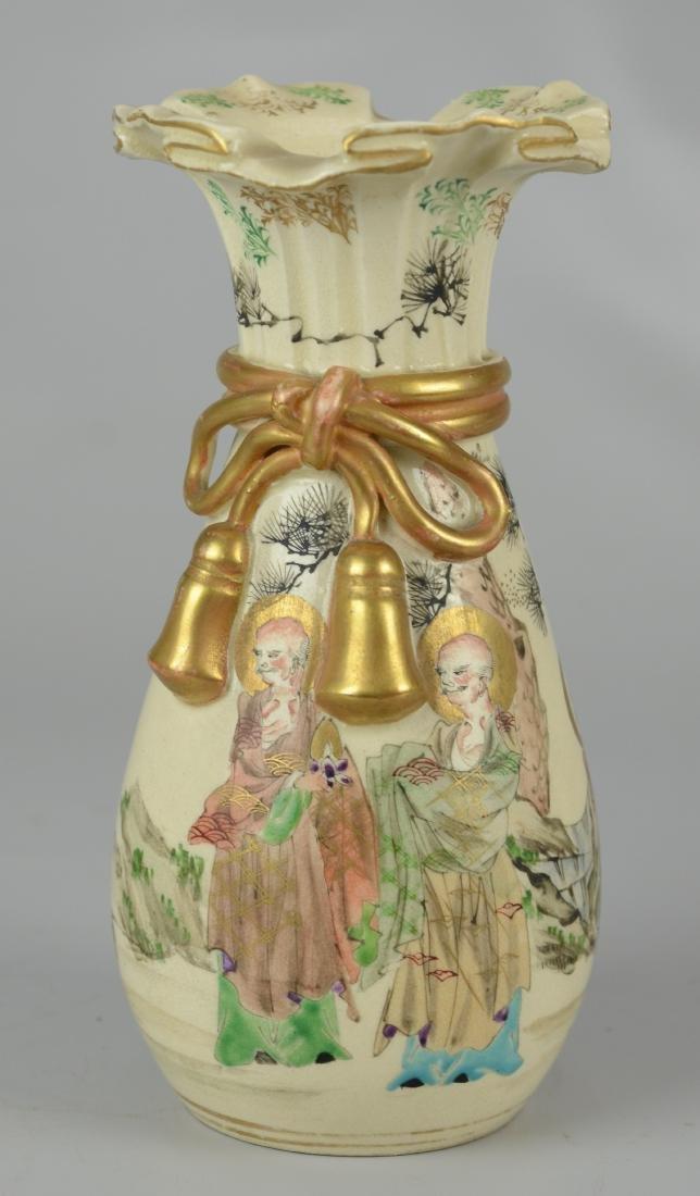 Japanese Satsuma vase with ruffled rim