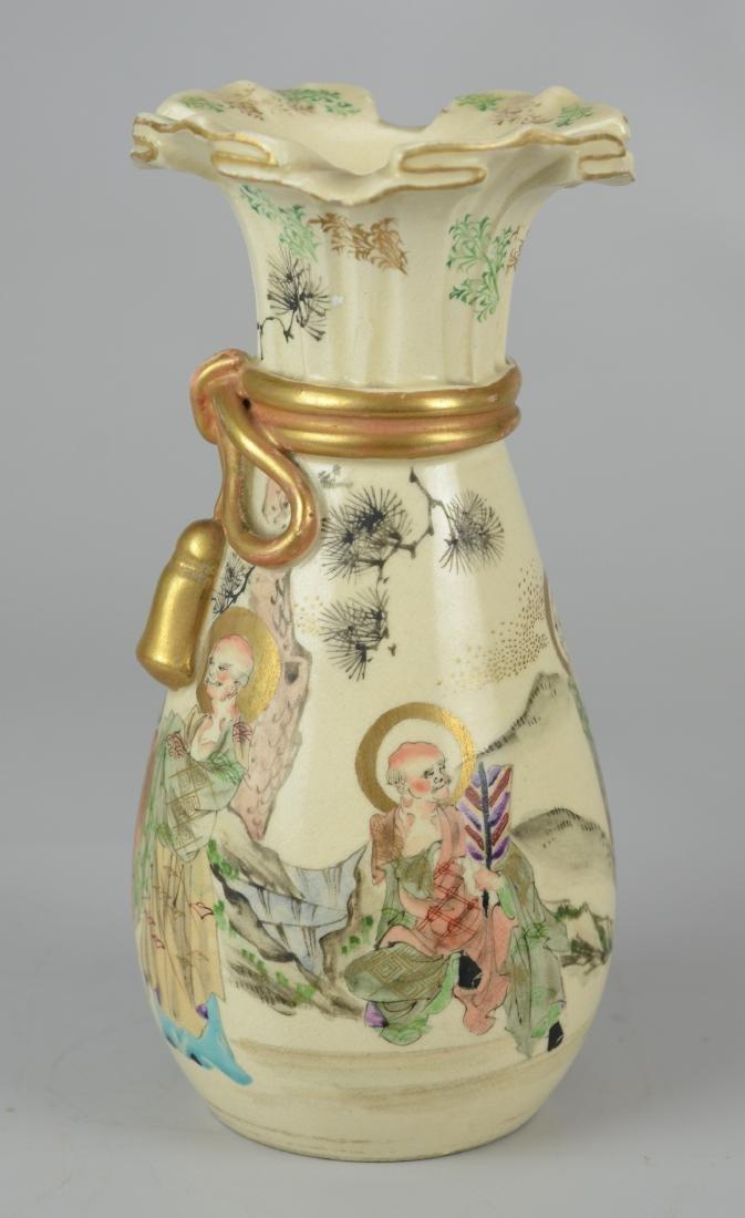 Japanese Satsuma vase with ruffled rim - 2