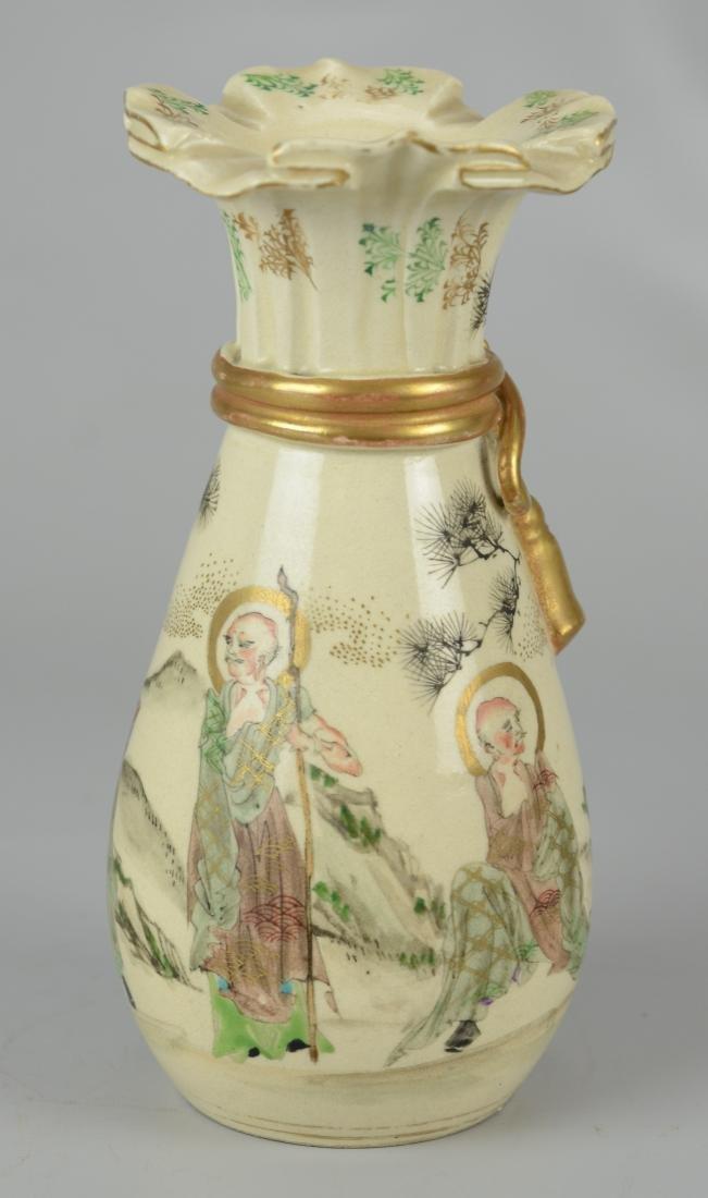 Japanese Satsuma vase with ruffled rim - 3