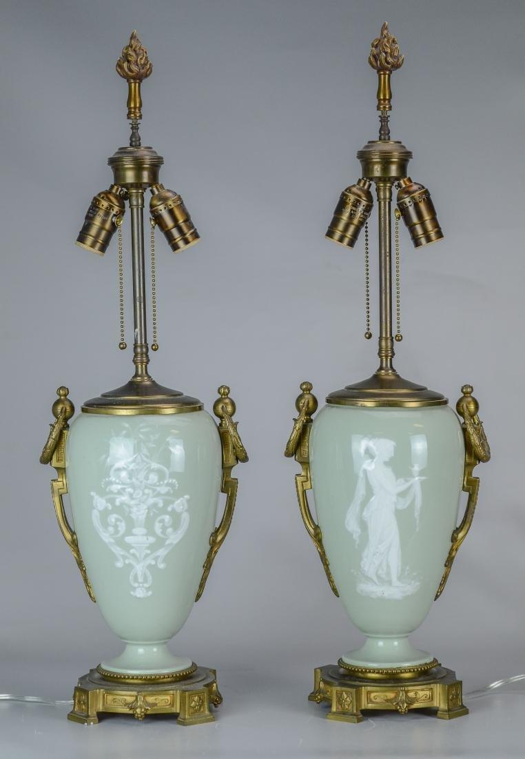 Pr Celadon ground table lamps, pate sur pate