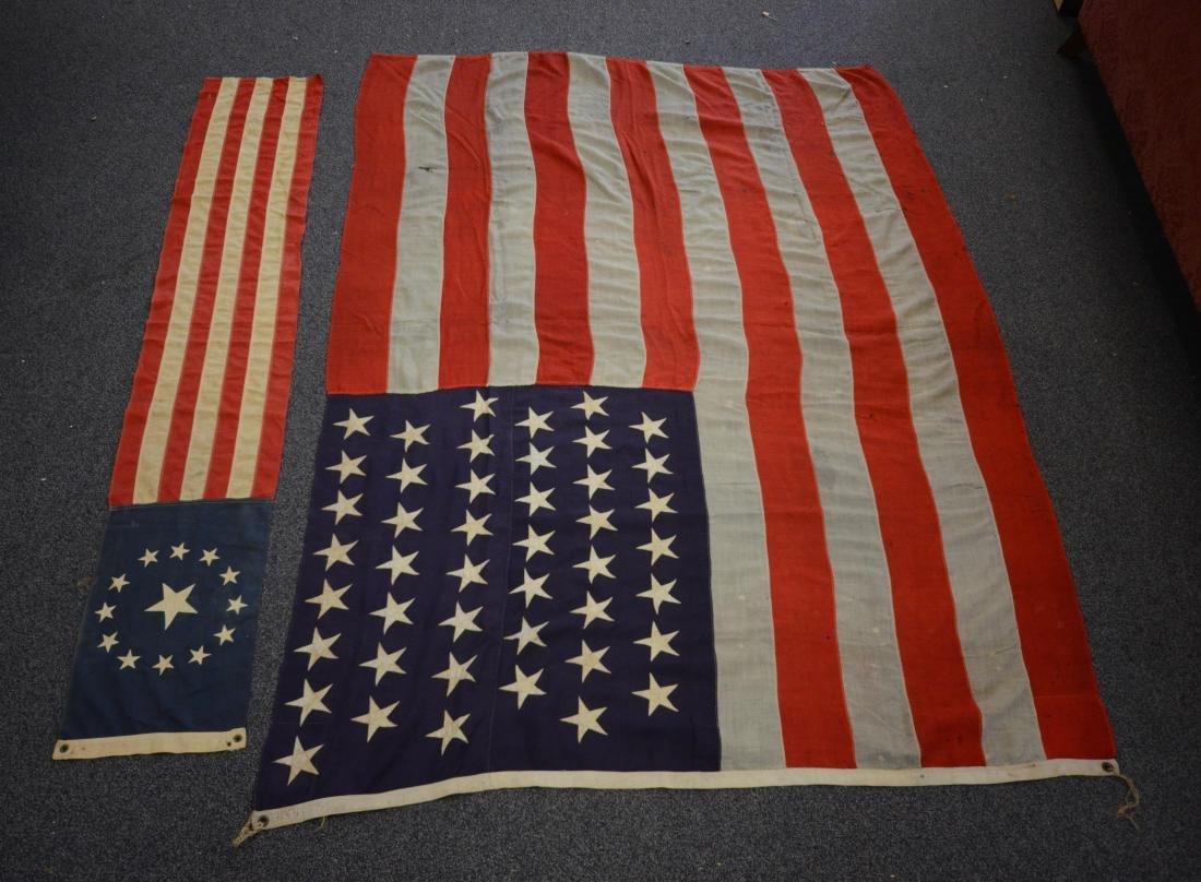 Handmade 45 star flag, later flag banner with 13 stars