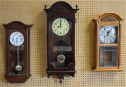 3 Wall clocks one Hamilton with a time and strike