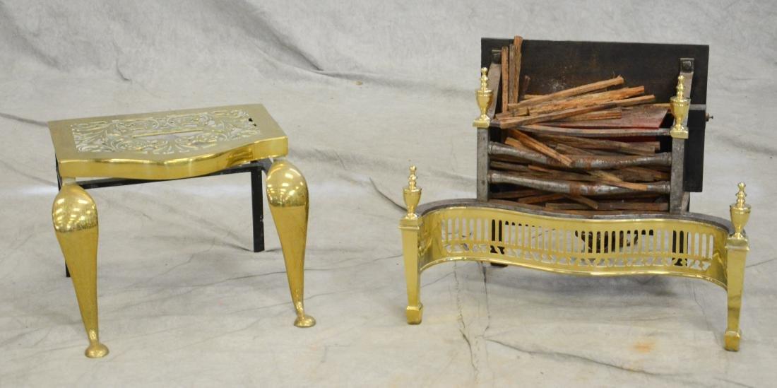 Brass fireplace grate & fender, electrified