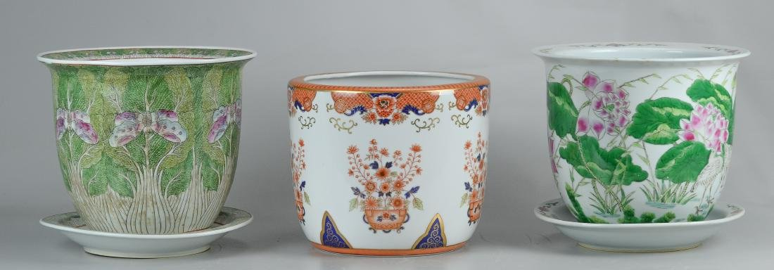 3 Planters, (2) Chinese, (1) Imari style cache pot