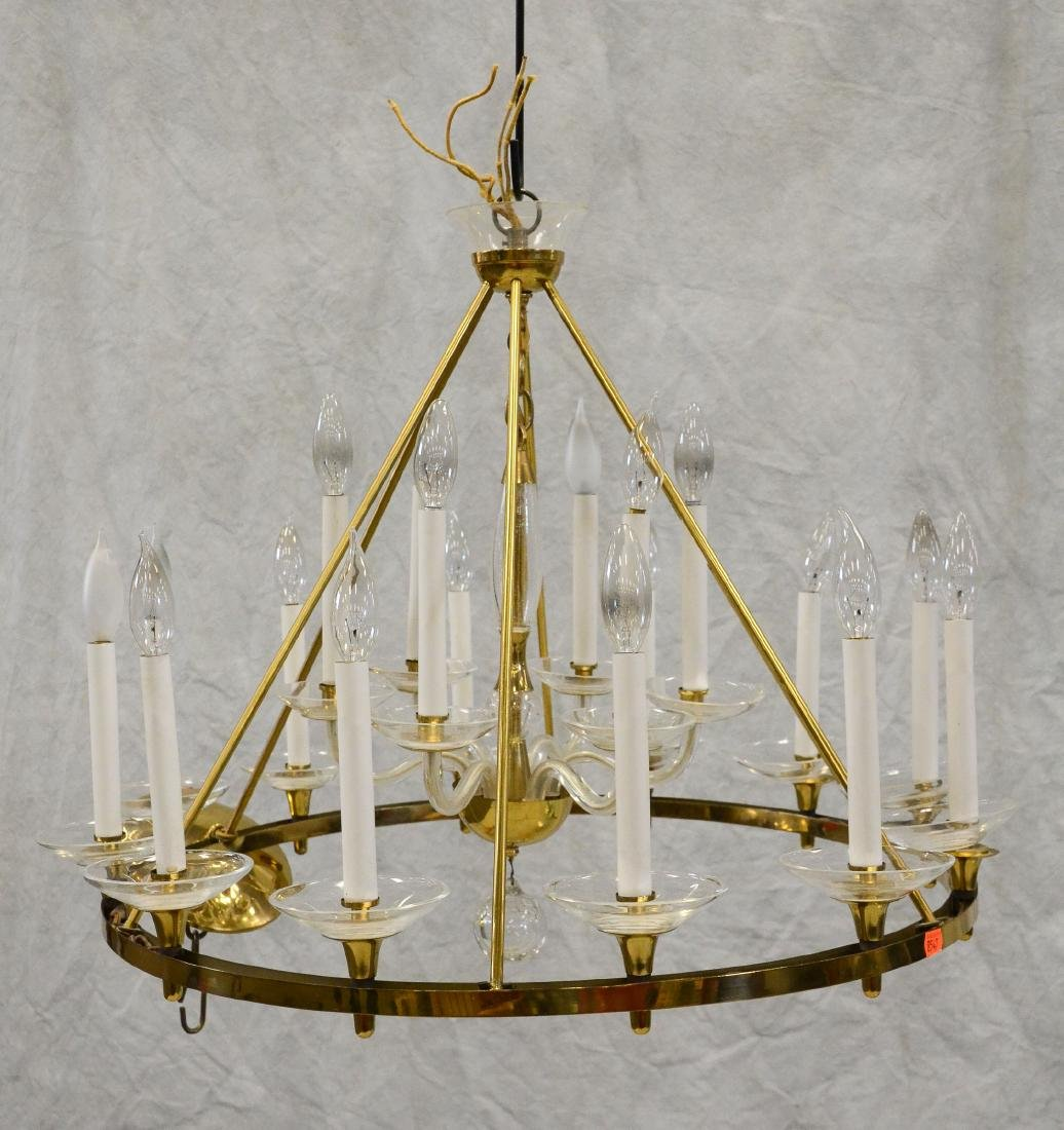Brass candle chandelier, glass arms & bobeches