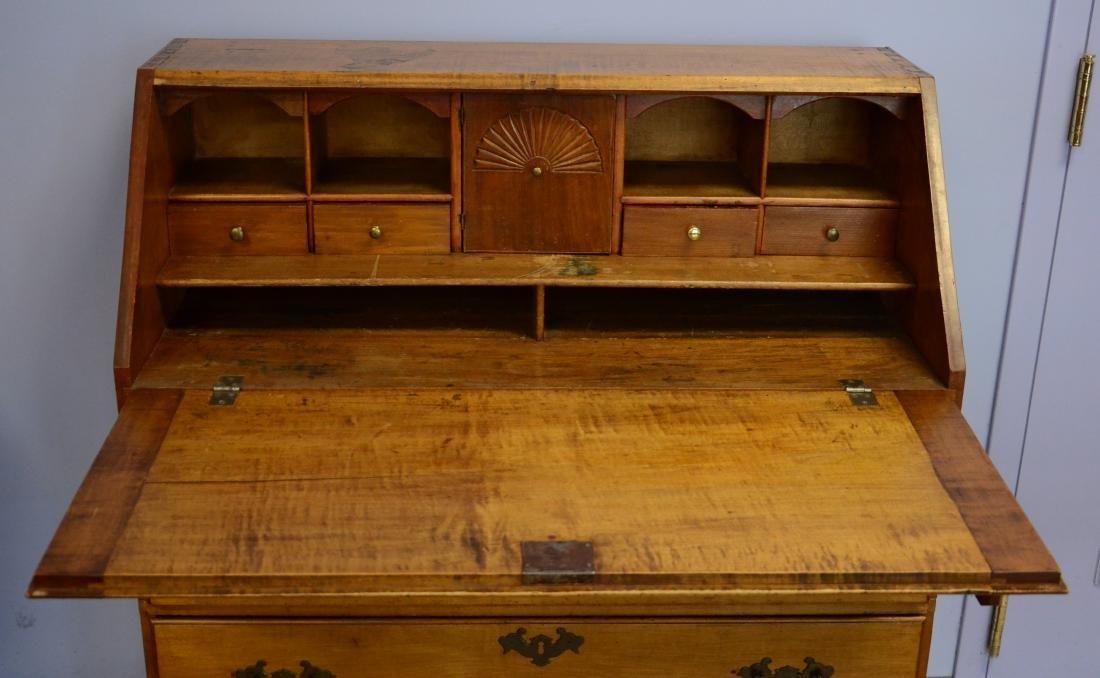 19th c slant front desk, brass hardware, dovetailed - 3