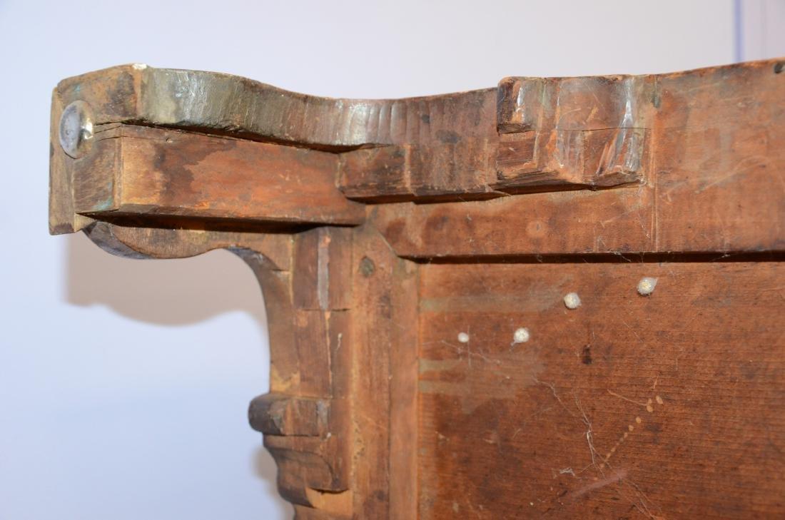 19th c slant front desk, brass hardware, dovetailed - 6