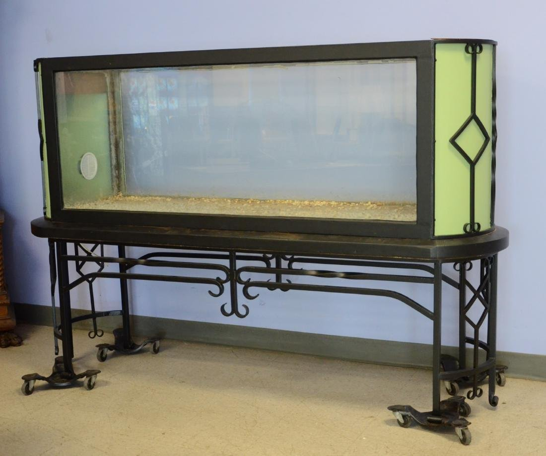 1920's Art Deco wrought iron and glass terrarium,