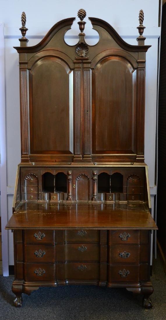 Colonial Mfg block & shell Newport style secretary desk