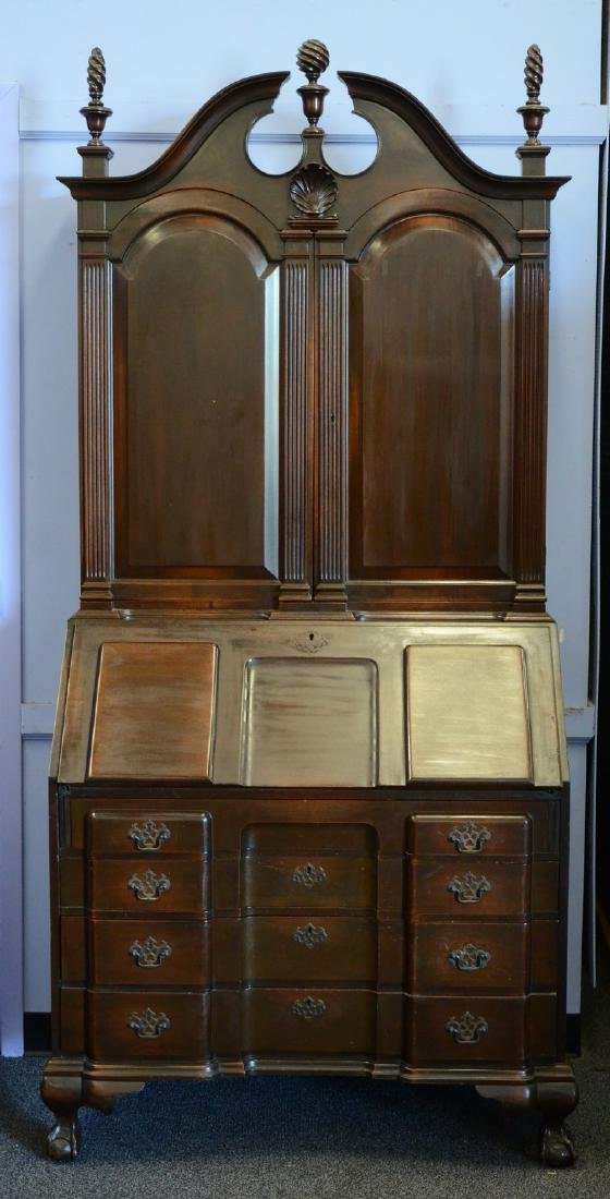 Colonial Mfg block & shell Newport style secretary desk - 2