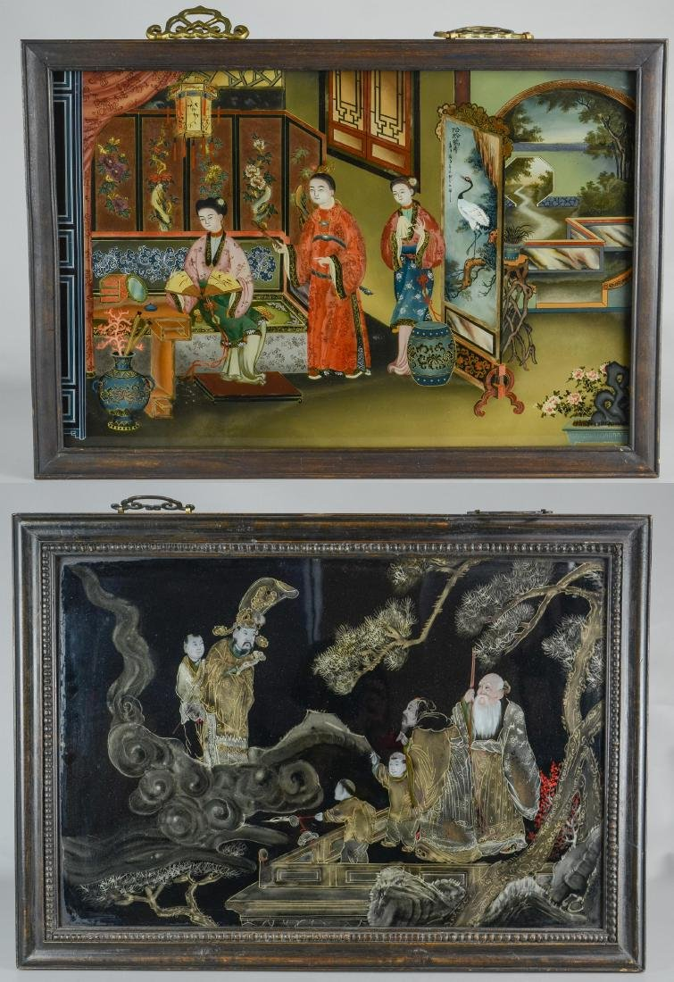 (2) Chinese reverse paintings on glass, carved teak