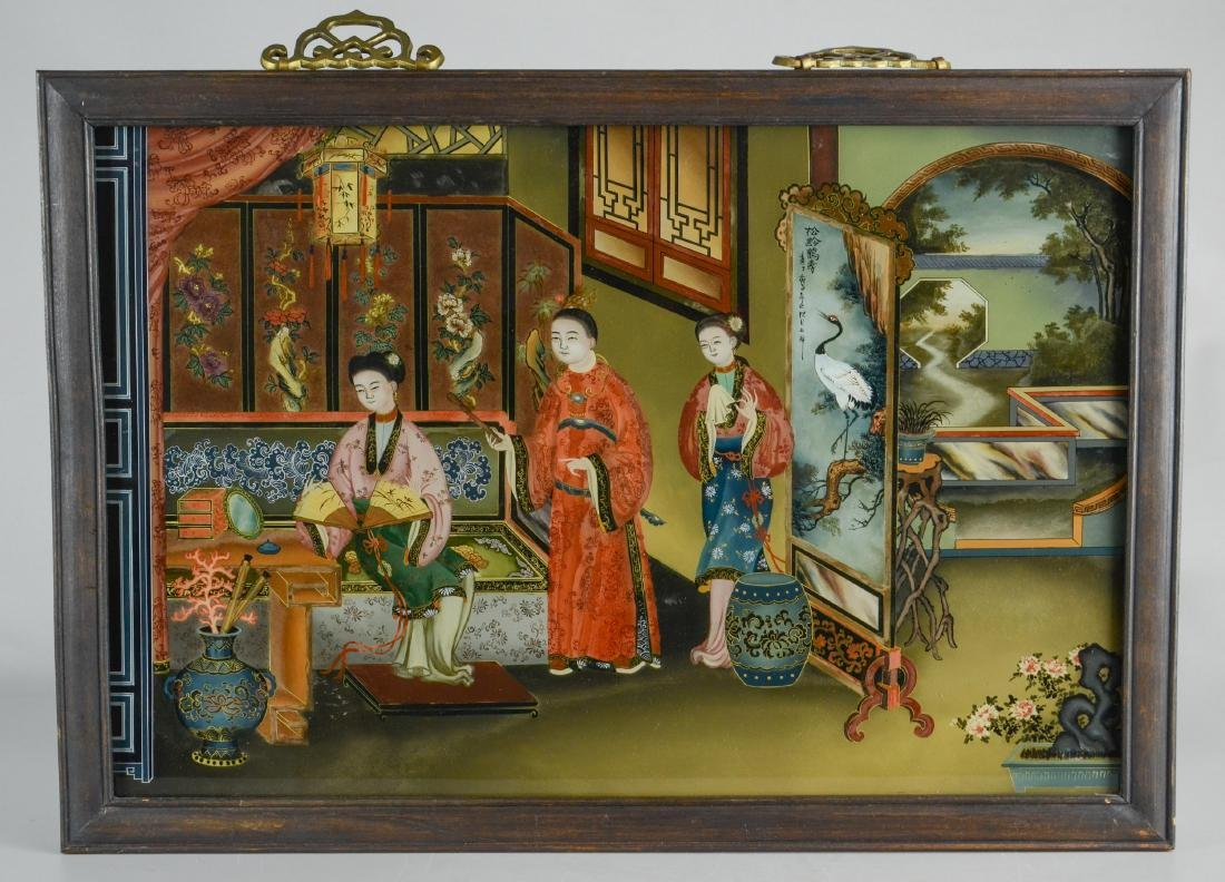 (2) Chinese reverse paintings on glass, carved teak - 2