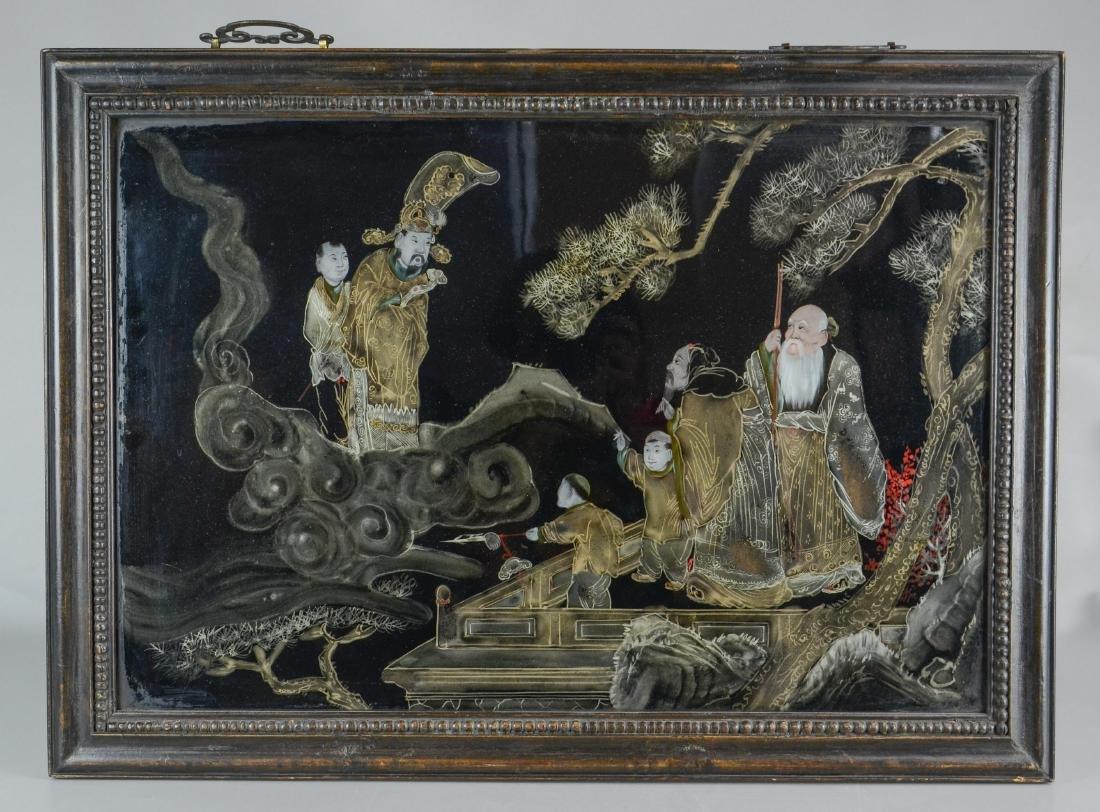 (2) Chinese reverse paintings on glass, carved teak - 4