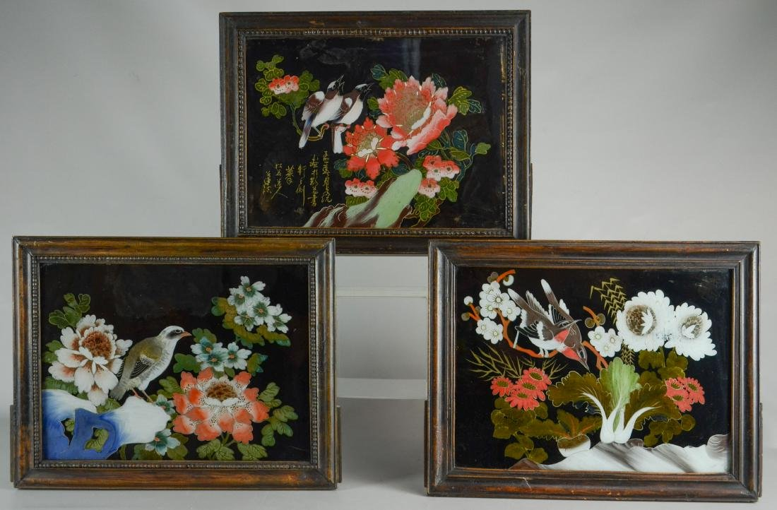 (3) Chinese reverse paintings on glass, carved teak