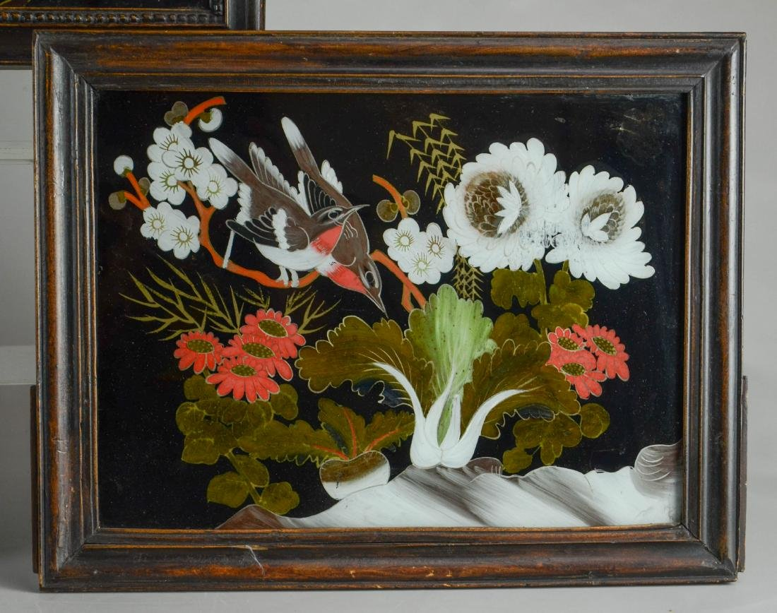 (3) Chinese reverse paintings on glass, carved teak - 2