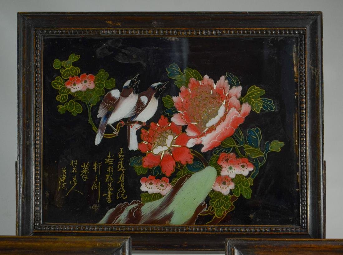 (3) Chinese reverse paintings on glass, carved teak - 4