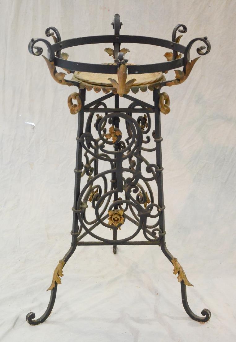 Cast and wrought iron planter pedestal, filigree