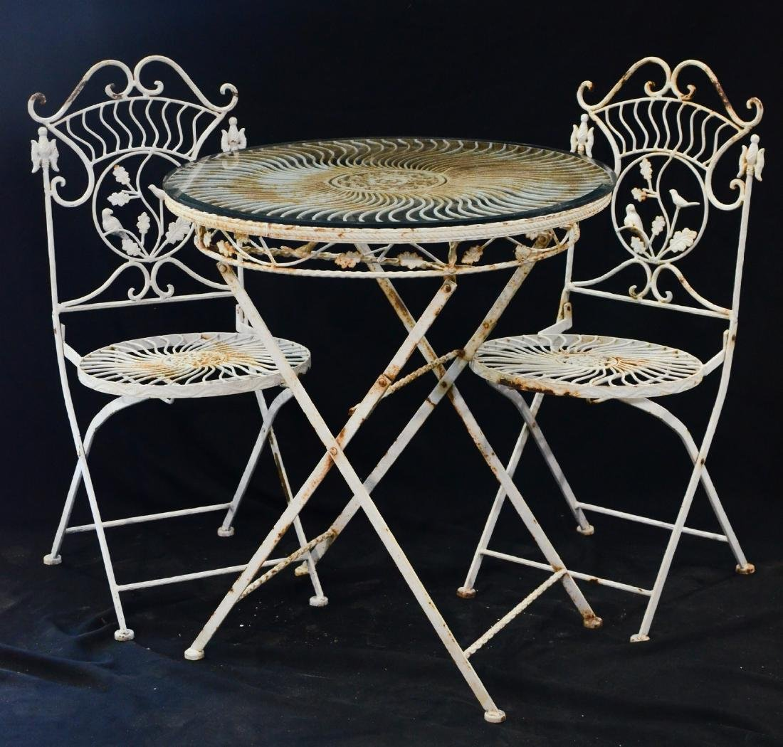 (3) pc wrought iron folding patio set, the table top