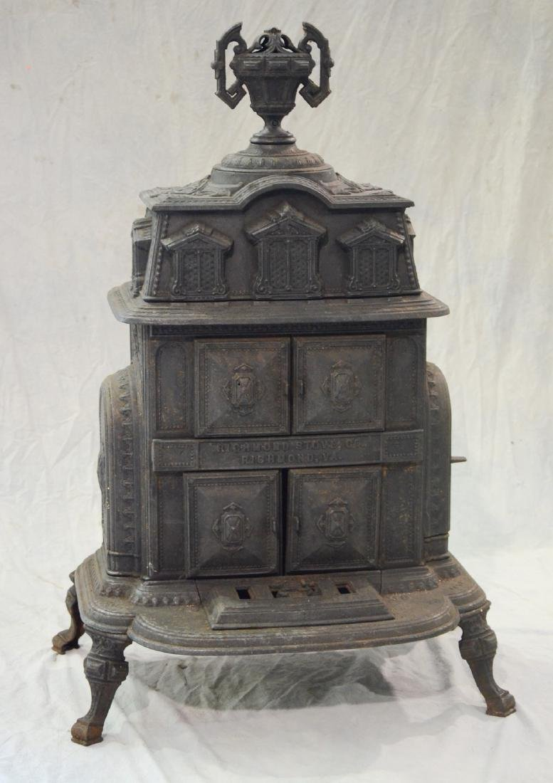 Cast iron Franklin parlor stove, signed Richmond Stove