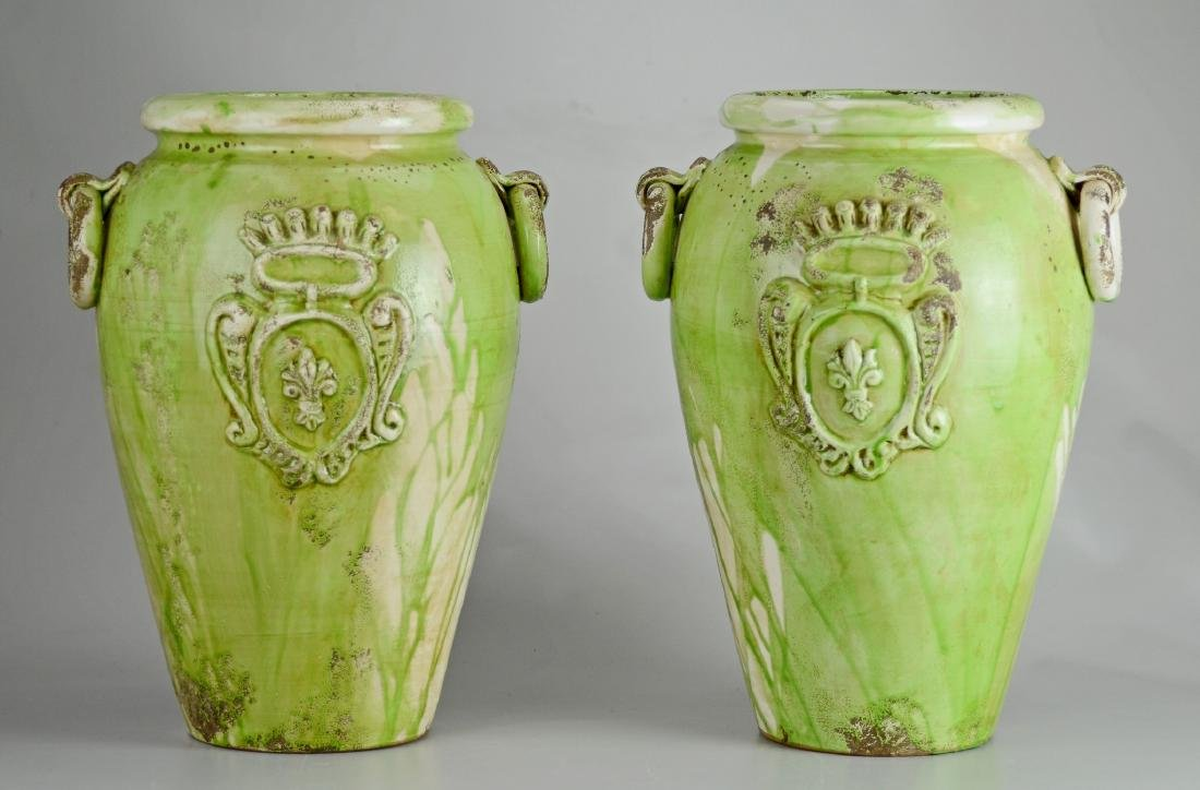 Pr large double handled jars, mottled drip green glaze,
