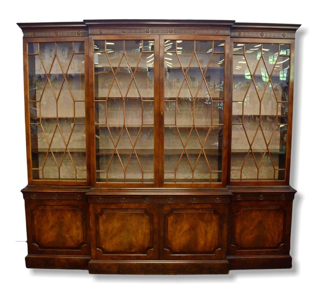 Baker Chippendale style mahogany breakfront