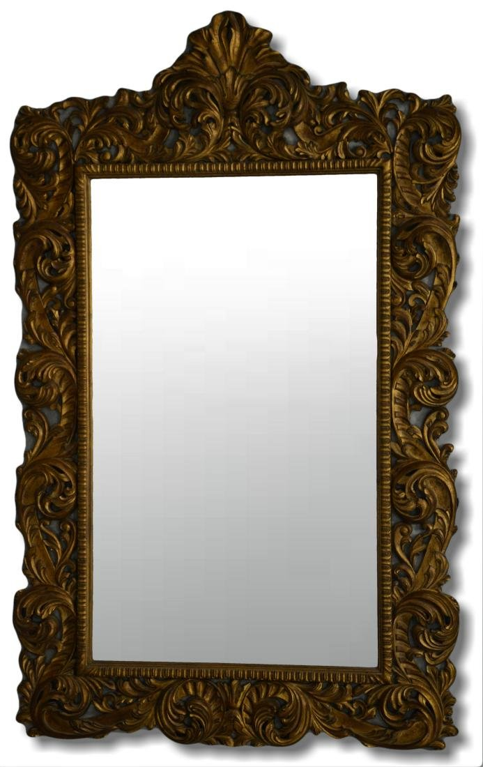 Italian style gilt carved beveled glass mirror
