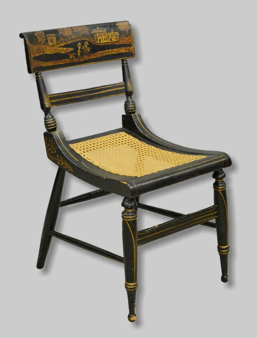 Paint decorated ebonized caned side chair